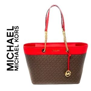 Michael Kors Signature Shania Large EW Chain Tote Trimmed in Red Flame